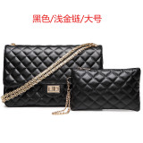 Buying Graceful Leather New Style Women S Quilted Chain Bag Small Bag Large Light Gold Chain Black
