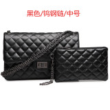 Top Rated Graceful Leather New Style Women S Quilted Chain Bag Small Bag Medium Tungsten Steel Chain Black