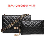 Cheap Graceful Leather New Style Women S Quilted Chain Bag Small Bag Small Shallow Gold Wear Leather Chain Black