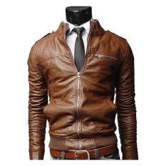 Price Gracefulvara Fashion Men S Motorcycle Leather Jacket Slim Coat Outwear Brown On China