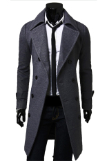 Compare Gracefulvara Men S Slim Fit Trench Coat Winter Long Jacket Double Breasted Overcoat Grey