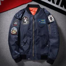 Grandwish Men Cartoon Patches Flight Bomber Jackets Casual Coat Slim M 3Xl Dark Blue Intl Best Price