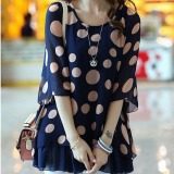 Brand New Grandwish Women Chiffon Shirts Polka Dot Printing Batwing Sleeve Shirts Big Size L 5Xl Blue