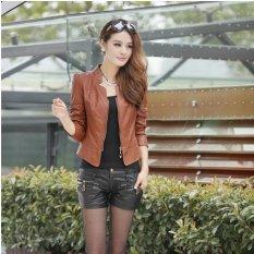 Grandwish Women Pu Leather Coat Motor Jacket Stand Collar Slim S-2xl (brown) By Grandwish.