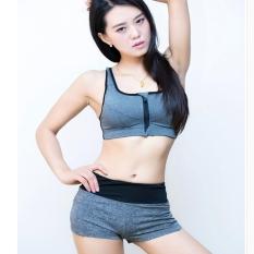 Cheaper Gray Woman Yoga Running Suits Female Sports Gym Underwear Shockproof Zipper Vest Bra Gather Speed Dry Shorts 2Pcs Sets Intl