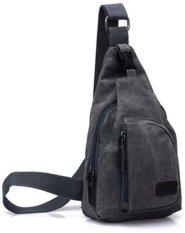 Sale Grey Casual Canvas Sling Travel Bag Shoulder Unbalance Crossbody Chest Oem Cheap