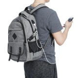 Guapabien Preppy Style Large Capacity Usb Port Hole Multifunction Backpack For Men Grey Intl Free Shipping
