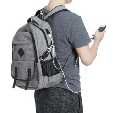 Review Guapabien Preppy Style Large Capacity Usb Port Hole Multifunction Backpack For Men Grey Intl Guapabien On China