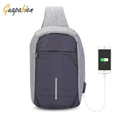 Price Guapabien Sling Shoulder Chest Bag For Men With Usb Charging Port Headphone Hole Grey Intl China