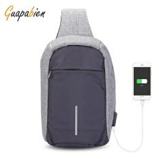 How To Buy Guapabien Sling Shoulder Chest Bag For Men With Usb Charging Port Headphone Hole Grey Intl