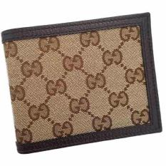 557846d5ce1a Gucci Men's Classic GG Monogram Bifold Slim Canvas And Leather Wallet  (Brown)
