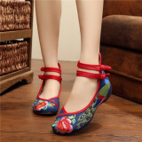 Buy Gum Outsole Colorful Spring And Summer Peacock Embroidered Shoes Blue