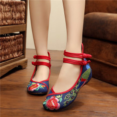 Buy Gum Outsole Colorful Spring And Summer Peacock Embroidered Shoes Blue Online