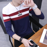 Best Reviews Of Korean Style Cotton Long Sleeved Round Neck Base Shirt T Shirt Dark Blue Color