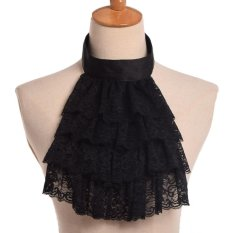 Sale Hand Made Vintage Detachable Lace Black Ruffles Jabot Collar Victorian Steampunk Cosplay Props Intl China