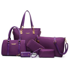 Handbag 2016 New Style Tide Plain Weave Nylon Oxford Cloth Picture Bag Six Pieces Sets Big Bag Portable Shoulder Mother Bag Purple On China