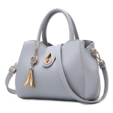 Compare Price Women S Leather Shoulder Bag Gray Gray Oem On China