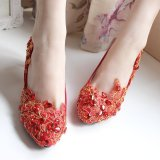 Price Compare Gold Red Lace Bridal Wedding Shoes Flat Partial Less Than Half Yards