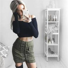 Buying Hang Qiao Lace Up Women Skirt Suede Leather High Waist Casual Mini Army Green Intl