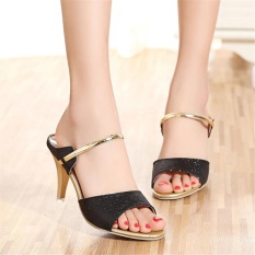 Hang Qiao Ladies Casual Sandals Shoes Thin High Heels Slippers Black Intl Shop