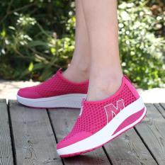 Hang Qiao New Height Increasing Shoes Casual Women Wedges Shoes Hotpink Intl China