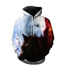 Retail Hang Qiao Unisex Hoodies Wolf Printed Long Sleeve Hooded Sweatshirt Coat Jackets Intl