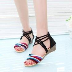 Buying Hang Qiao Wedge Heel Sandals Roman Sandals Gladiator Sandals Black Intl