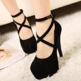 Compare Price Hang Qiao Women Fish Mouth Sandals Thick High Heels S*xy Strap Sandals S*xy Night Club Shoes Black Intl On China