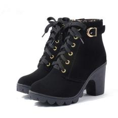 Discount Hangqiao Women Boots Thick With High Heeled Bandage Martin Shoes Black China