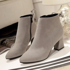 Top Rated Hanyu Autumn Winter New Scrub Boots Pointed Bare Boots Female Single Boots Rough Heel Martin Boots Grey Intl