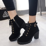 Buy Hanyu Autumn Winter Women Lady Pu Leather High Heel Martin Ankle Zipper Boots Shoes Black Intl Oem Cheap