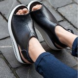 Who Sells The Cheapest Hanyu New Style Fashion Women S Shake Shoes Summer Fish Mouth Sandals Leather Wedge Shoes Non Slip Platform Shoes With Magic Sticker Black Intl Online