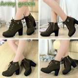 Hanyu Thick Pu Leather High Heel Zipper Martin Ankle Boots For Women Army Green Lowest Price