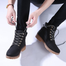 Who Sells Hanyu Winter Shoes Pu Leather Patchwork Strapped Flat Fashion Women Boots Black