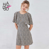 Discount Haoduoyi Artistic New Style Printed High Waisted Short Sleeved Dress Haoduoyi On Singapore