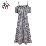 List Price Haoduoyi2017 Shishang Button Off The Shoulder Strap Plaid Dress Haoduoyi