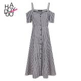 Sale Haoduoyi2017 Shishang Button Off The Shoulder Strap Plaid Dress Haoduoyi