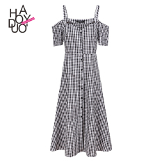 Price Haoduoyi2017 Shishang Button Off The Shoulder Strap Plaid Dress Haoduoyi