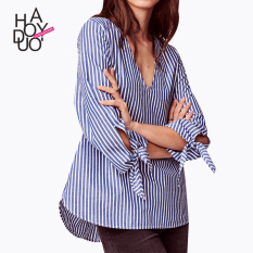 How To Buy Haoduoyi Brief Striped Lace Up Shirt