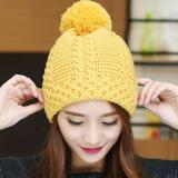 Retail Haotom Fashion Women Hat Winter Caps Knitted Hats Wool Cap For Woman Lady S Headwear Cloth Accessory Yellow Intl