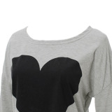 Discount Heart Design Long Sleeve Blouse T Shirt Grey Zanzea