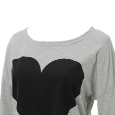 For Sale Heart Design Long Sleeve Blouse T Shirt Grey