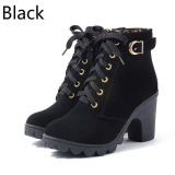 Hengsong Autumn Winter Women Pu Leather High Heel Martin Ankle Zipper Boots Black Intl China
