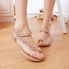 HengSong Hot Sales Summer Women Sandals Bohemia Flower Casual Toepost Flats Shoes (Apricot) -