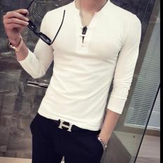 HengSong Men Fashion long sleeve T-shirt Casual Shirts Tops (White) - intl