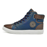 Buying Hengsong Men S High Top Sport Casual Sneakers Pu Leather Shoes Blue
