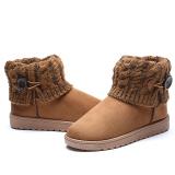 Sale Hengsong Winter Female Warm Wool Button Snow Boots Fashion Women Short Shoes Khaki