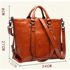 HengSong Women Fashion Vintage PU Leather Simple Solid Big Shoulder Bag Tote Bags Brown