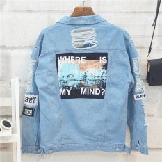 Discount Hengsong Women Retro Washing Frayed Embroidery Letter Patch Jeans Bomber Jacket Light Blue Ripped Denim Coat Intl