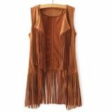 Hequ Fashion Women Fringe Suede Vest Women Faux Leather Sleeveless Jacket Tassel Vest Khaki Intl Hequ Cheap On Hong Kong Sar China